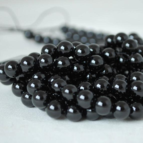 "High Quality Grade A Natural Black Spinel Semi-precious Gemstone Round Beads - 4mm, 6mm, 8mm, 10mm Sizes - Approx 16"" Strand"
