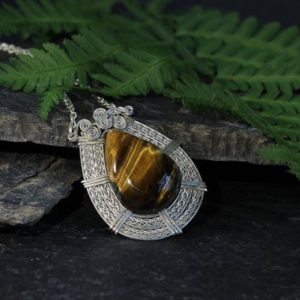 Shop Tiger Eye Pendants! Sterling Silver Pendant, Tiger Eye Necklace, Handmade Braid Wire, Push Present, 2nd anniversary gift, Handmade Jewelry, Special Gift for Her | Natural genuine Tiger Eye pendants. Buy crystal jewelry, handmade handcrafted artisan jewelry for women.  Unique handmade gift ideas. #jewelry #beadedpendants #beadedjewelry #gift #shopping #handmadejewelry #fashion #style #product #pendants #affiliate #ad