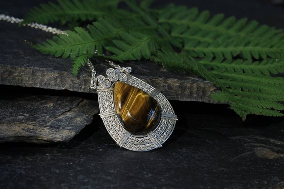 Sterling Silver Pendant, Tiger Eye Necklace, Handmade Braid Wire, Push Present, 2nd Anniversary Gift, Handmade Jewelry, Special Gift For Her