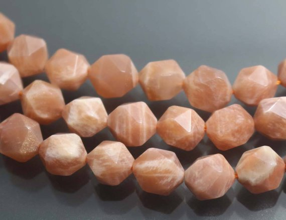 Sunstone Faceted Nugget Beads, Natural Faceted Sunstone Nugget Beads, 15 Inches One Starand