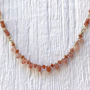Orange Necklace – Sunstone Gemstone Jewelry – Gold Jewellery – Wire Wrapped – Luxe – Statement | Natural genuine Gemstone necklaces. Buy crystal jewelry, handmade handcrafted artisan jewelry for women.  Unique handmade gift ideas. #jewelry #beadednecklaces #beadedjewelry #gift #shopping #handmadejewelry #fashion #style #product #necklaces #affiliate #ad