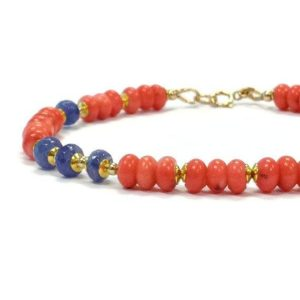 Shop Tanzanite Bracelets! Coral & Tanzanite Bracelet – Beaded Jewelry – Salmon – Pink – Purple – Spring Fashion Jewellery – Gemstone – Gold B-174 | Natural genuine Tanzanite bracelets. Buy crystal jewelry, handmade handcrafted artisan jewelry for women.  Unique handmade gift ideas. #jewelry #beadedbracelets #beadedjewelry #gift #shopping #handmadejewelry #fashion #style #product #bracelets #affiliate #ad
