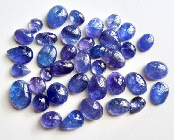 8-15mm Tanzanite Plain Cabochons, Natural Tanzanite Mix Shape Flat Back Cabochons, Loose Tanzanite Gems For Jewelry (3pcs To 5pcs Options)
