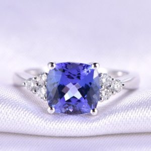 Shop Tanzanite Jewelry! Tanzanite Ring Tanzanite Engagement Ring 7.5mm Cushion Cut Stone Moissanite Wedding Band Solitaire Ring 14k White Gold Anniversary Ring | Natural genuine Tanzanite jewelry. Buy handcrafted artisan wedding jewelry.  Unique handmade bridal jewelry gift ideas. #jewelry #beadedjewelry #gift #crystaljewelry #shopping #handmadejewelry #wedding #bridal #jewelry #affiliate #ad