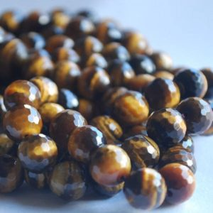 "Shop Tiger Eye Faceted Beads! High Quality Grade A Natural Tigers Eye Semi-precious Gemstone FACETED Round Beads – 6mm, 8mm, 10mm sizes – Approx 15"" strand 