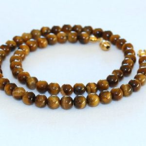 "Shop Tiger Eye Jewelry! Tiger Eye Necklace. 6mm 16""  Brown Tiger Eye / Tiger's Eye Stone. Therapeutic. MapenziGems 
