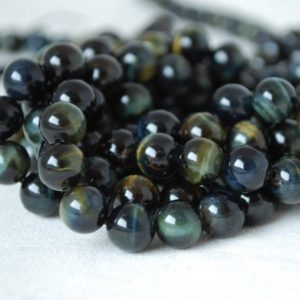 "High Quality Grade A Natural Blue Tiger Eye Semi-precious Gemstone Round Beads – 4mm, 6mm, 8mm, 10mm sizes – 15.5"" strand 