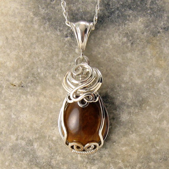 Tigers Eye Necklace – Small Golden Brown Stone Pendant – Silver Tigers Eye Jewellery – Wire Wrap – Tiger Eye – Healing Necklace – Tiger Eye