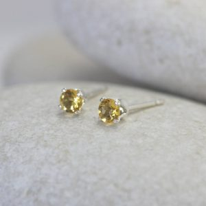 Shop Yellow Sapphire Earrings! Tiny Yellow Sapphire Earrings with Sterling Silver Posts, Second Hole Stud Earrings | Natural genuine Yellow Sapphire earrings. Buy crystal jewelry, handmade handcrafted artisan jewelry for women.  Unique handmade gift ideas. #jewelry #beadedearrings #beadedjewelry #gift #shopping #handmadejewelry #fashion #style #product #earrings #affiliate #ad