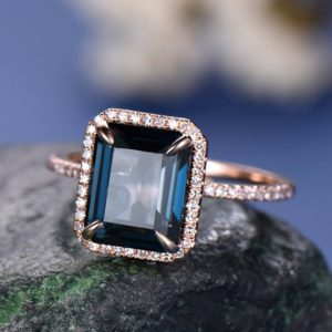 8x10mm London Blue Topaz Engagement Ring-solid 14k Rose Gold-solitaire Infinity Ring-basketemerald Cut Gemstone Promise Ring For Her-halo | Natural genuine Gemstone rings, simple unique alternative gemstone engagement rings. #rings #jewelry #bridal #wedding #jewelryaccessories #engagementrings #weddingideas #affiliate #ad