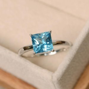 Blue Topaz Ring, Princess Cut Ring, Blue Topaz, Gemstone Ring Sterling Silver | Natural genuine Gemstone rings, simple unique handcrafted gemstone rings. #rings #jewelry #shopping #gift #handmade #fashion #style #affiliate #ad