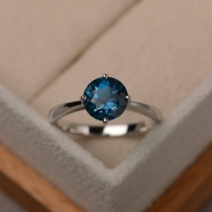 Shop Topaz Rings! London Blue Topaz Ring, Solitaire Ring, Sterling Silver, Round Cut , november Birthstone Ring | Natural genuine Topaz rings, simple unique handcrafted gemstone rings. #rings #jewelry #shopping #gift #handmade #fashion #style #affiliate #ad