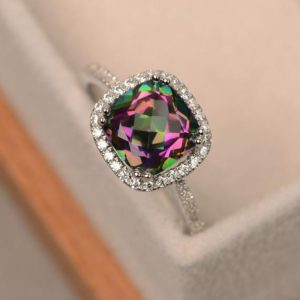 Mystic topaz rings, rainbow mystic topaz, sterling silver, cushion cut, engagement rings | Natural genuine Gemstone rings, simple unique alternative gemstone engagement rings. #rings #jewelry #bridal #wedding #jewelryaccessories #engagementrings #weddingideas #affiliate #ad