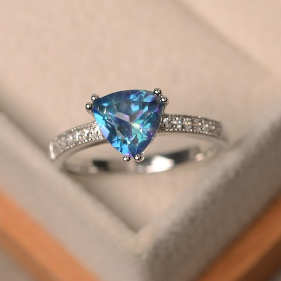 Neptune Topaz Ring, Trillion Cut Ring, Sterling Silver Ring, Engagement Ring