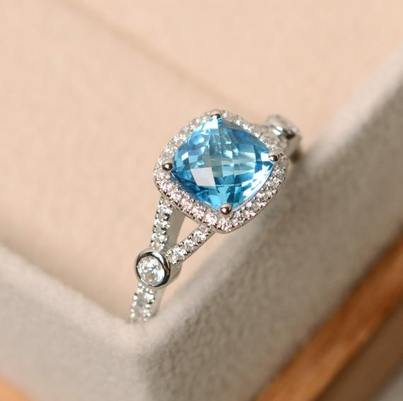 Swiss Blue Topaz Ring, Cushion Cut, Engagement Ring, Sterling Silver, Gemstone Ring Topaz