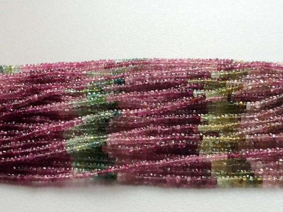3mm Multi Tourmaline Faceted Rondelles, Tourmaline Faceted Rondelle For Jewelry, Pink And Green Tourmaline (65.in To 13in Options) - Goda460