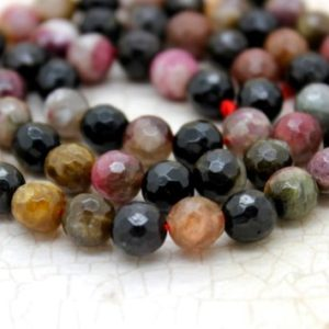 Shop Tourmaline Faceted Beads! Pink Tourmaline Beads, Natural Multi-Color Green Tourmaline Faceted Round Beads (4mm 6mm 8mm 10mm) | Natural genuine faceted Tourmaline beads for beading and jewelry making.  #jewelry #beads #beadedjewelry #diyjewelry #jewelrymaking #beadstore #beading #affiliate