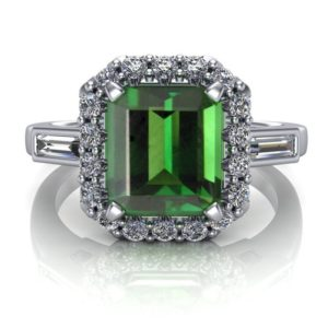 "Shop Tourmaline Rings! Green Tourmaline Ring with Diamond Halo, Emerald Cut | USA Custom Made | ""Rhiannon"" 
