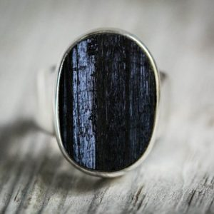 Shop Black Tourmaline Rings! Black Tourmaline Ring 12 – Raw Uncut Black Tourmaline Slice Ring –  Unisex Raw Black Tourmaline Ring – Raw Uncut Black Tourmaline Ring 12 | Natural genuine Black Tourmaline rings, simple unique handcrafted gemstone rings. #rings #jewelry #shopping #gift #handmade #fashion #style #affiliate #ad
