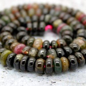 Shop Tourmaline Rondelle Beads! Multicolor Tourmaline Rondelle Smooth Loose Natural Gemstone Beads – 3mm x 5mm – Full Strand | Natural genuine rondelle Tourmaline beads for beading and jewelry making.  #jewelry #beads #beadedjewelry #diyjewelry #jewelrymaking #beadstore #beading #affiliate #ad