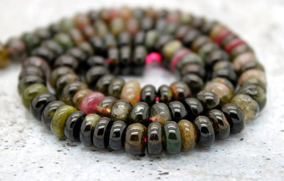 Multicolor Tourmaline Rondelle Smooth Loose Natural Gemstone Beads - 3mm X 5mm - Full Strand