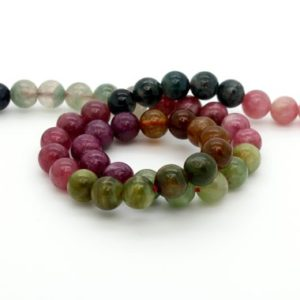 "Shop Tourmaline Round Beads! High Quality Assorted Color Tourmaline Natural Gemstone Loos Round Ball Sphere Loose Beads 15.5"" Strand 