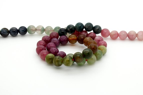 """High Quality Assorted Color Tourmaline Natural Gemstone Loos Round Ball Sphere Loose Beads 15.5"""" Strand"""