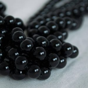 "Shop Tourmaline Beads! High Quality Grade A Natural Black Tourmaline Semi-precious Gemstone Round Beads – 4mm, 6mm, 8mm, 10mm sizes – Approx 15.5"" strand 