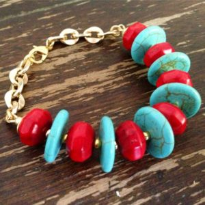 Shop Turquoise Bracelets! Turquoise and Red Bracelet – Gold Jewelry – Gemstone Jewellery – Chain – Chunky – Fashion – Beaded | Natural genuine Turquoise bracelets. Buy crystal jewelry, handmade handcrafted artisan jewelry for women.  Unique handmade gift ideas. #jewelry #beadedbracelets #beadedjewelry #gift #shopping #handmadejewelry #fashion #style #product #bracelets #affiliate #ad