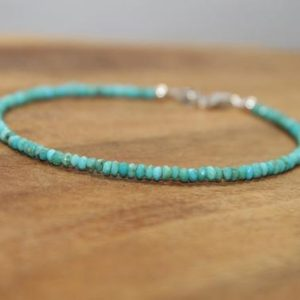 Shop Turquoise Bracelets! Dainty Sleeping Beauty Turquoise Bracelet, Beaded, Layering, Sleeping Beauty Turquoise Jewelry, December Birthstone, Gemstone Jewelry | Natural genuine Turquoise bracelets. Buy crystal jewelry, handmade handcrafted artisan jewelry for women.  Unique handmade gift ideas. #jewelry #beadedbracelets #beadedjewelry #gift #shopping #handmadejewelry #fashion #style #product #bracelets #affiliate #ad