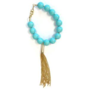 Shop Turquoise Bracelets! Turquoise Bracelet Gold Tassel Designer Inspired Jewelry Long Chain 14k Yellow Gold Jewellery Teal Aqua Summer Fashion B-170 | Natural genuine Turquoise bracelets. Buy crystal jewelry, handmade handcrafted artisan jewelry for women.  Unique handmade gift ideas. #jewelry #beadedbracelets #beadedjewelry #gift #shopping #handmadejewelry #fashion #style #product #bracelets #affiliate #ad