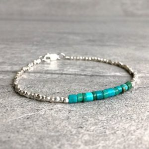Real Turquoise Bracelet | Tiny Bead Bracelet | Sterling Silver Turquoise Crystal Jewelry | Men's, Women's Custom Size Stacking Bracelet | Natural genuine Turquoise bracelets. Buy crystal jewelry, handmade handcrafted artisan jewelry for women.  Unique handmade gift ideas. #jewelry #beadedbracelets #beadedjewelry #gift #shopping #handmadejewelry #fashion #style #product #bracelets #affiliate #ad