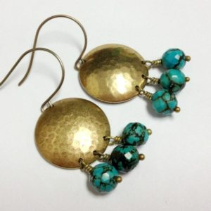 Shop Turquoise Earrings! Turquoise Earrings – Brass Jewelry – Southwestern Jewellery – Everyday – Funky | Natural genuine Turquoise earrings. Buy crystal jewelry, handmade handcrafted artisan jewelry for women.  Unique handmade gift ideas. #jewelry #beadedearrings #beadedjewelry #gift #shopping #handmadejewelry #fashion #style #product #earrings #affiliate #ad