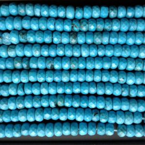 "Shop Turquoise Faceted Beads! Beautiful Blue Turquoise Faceted Rondelle Gemstone Loose Beads Size 4×6/5x8mm Wholesale 15.5"" Long Per Strand.R-S-AMA-0080 