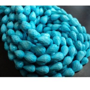 Shop Turquoise Faceted Beads! Turquoise Faceted Briloletes/ Straight Drilled Tear Drop Beads/ Chinese Turquoise – 6x10mm Each, 20 Pie | Natural genuine faceted Turquoise beads for beading and jewelry making.  #jewelry #beads #beadedjewelry #diyjewelry #jewelrymaking #beadstore #beading #affiliate #ad