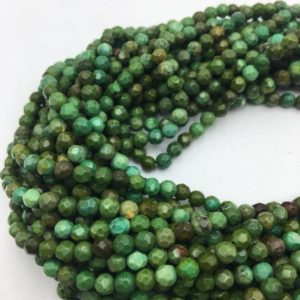 Shop Turquoise Faceted Beads! Dark Green Turquoise Faceted Round Gemstone Loose Beads Size 4mm/6mm 15.5 Inches per Strand. R-M-TUR-3082018-2 | Natural genuine faceted Turquoise beads for beading and jewelry making.  #jewelry #beads #beadedjewelry #diyjewelry #jewelrymaking #beadstore #beading #affiliate #ad
