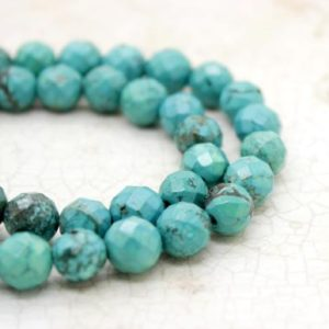 Shop Turquoise Faceted Beads! Stabilized Turquoise Faceted Round Ball Sphere Loose Gemstone Beads (4mm, 6mm, 8mm, 10mm, 12mm) | Natural genuine faceted Turquoise beads for beading and jewelry making.  #jewelry #beads #beadedjewelry #diyjewelry #jewelrymaking #beadstore #beading #affiliate #ad