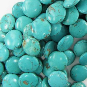 "Shop Turquoise Bead Shapes! 20mm blue turquoise coin gemstone beads 16""strand S1 17886 
