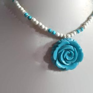 Shop Turquoise Pendants! Turquoise Necklace – White Beaded Jewelry – Flower Pendant – Gemstone Jewellery – Trendy – Fashion | Natural genuine Turquoise pendants. Buy crystal jewelry, handmade handcrafted artisan jewelry for women.  Unique handmade gift ideas. #jewelry #beadedpendants #beadedjewelry #gift #shopping #handmadejewelry #fashion #style #product #pendants #affiliate #ad