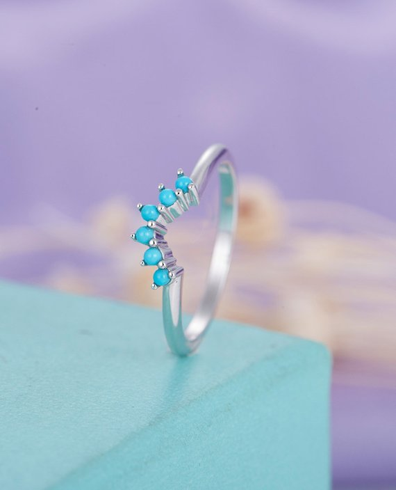 Turquoise Wedding Band Curved Wedding Band Women Simple Unique Bridal Jewelry Stacking Matching Promise Birthstone Anniversary Gift For Her