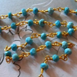 Shop Turquoise Rondelle Beads! 5 feet, Turquoise Rosary Chain, Wire Wrapped Beaded Rondelle Chain, Silver or Gold Plated, Gemstone Chain  rc.8 | Natural genuine rondelle Turquoise beads for beading and jewelry making.  #jewelry #beads #beadedjewelry #diyjewelry #jewelrymaking #beadstore #beading #affiliate #ad