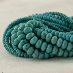 "Shop Turquoise Rondelle Beads! High Quality Grade A Turquoise (dyed) Semi-precious Gemstone Rondelle / Spacer Beads – 4mm, 6mm, 8mm sizes – 15.5"" strand 