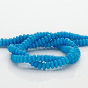 Shop Turquoise Rondelle Beads! Turquoise Rondelle Natural Gemstone Beads Full Strand (2mm X 4mm) | Natural genuine rondelle Turquoise beads for beading and jewelry making.  #jewelry #beads #beadedjewelry #diyjewelry #jewelrymaking #beadstore #beading #affiliate #ad