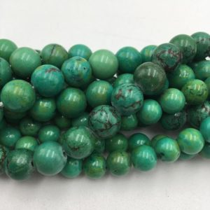 "Shop Turquoise Round Beads! 2.0mm Hole Dark Green Turquoise Smooth Round Size 8mm 10mm 12mm 15.5"" Strand 