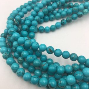 "Shop Turquoise Round Beads! Blue Turquoise Smooth Round Size 4mm 6mm 8mm 10mm 15.5"" Strand 