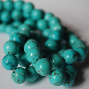 "Shop Turquoise Round Beads! High Quality Turquoise (dyed) Semi-precious Gemstone Round Beads – 4mm, 6mm, 8mm, 10mm 12mm Sizes – Approx 16"" Strand 