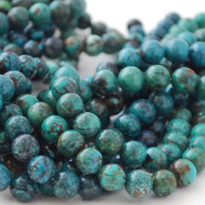 "Shop Turquoise Round Beads! High Quality Grade A Natural Turquoise Semi-precious Gemstone Round Beads – 4mm, 6mm, 8mm, 10mm Sizes – Approx 16"" Strand 