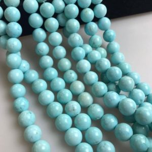 Shop Turquoise Round Beads! Light Blue Turquoise Gemstone Smooth Round Loose Beads 6mm / 8mm / 10mm 15.5 Inches Per Strand. R-s-l-tur-0346 | Natural genuine round Turquoise beads for beading and jewelry making.  #jewelry #beads #beadedjewelry #diyjewelry #jewelrymaking #beadstore #beading #affiliate #ad