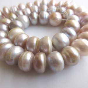 Shop Pearl Rondelle Beads! White Grey Peach Fresh Water Pearl Rondelle Beads, High Lustre Fancy Shaped Loose Pearls, 15 Inches, 11mm Each, SKU-FP47 | Natural genuine rondelle Pearl beads for beading and jewelry making.  #jewelry #beads #beadedjewelry #diyjewelry #jewelrymaking #beadstore #beading #affiliate #ad