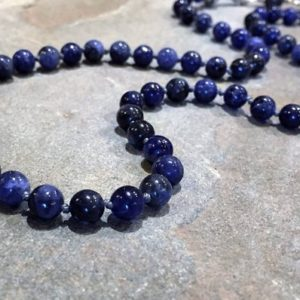 Women's Blue Sodalite Necklace/Knotted long Gemstone Rope/Classic Single Strand Blue Stone Bead Necklace/for Her/@IndigoLayne | Natural genuine Array jewelry. Buy crystal jewelry, handmade handcrafted artisan jewelry for women.  Unique handmade gift ideas. #jewelry #beadedjewelry #beadedjewelry #crystaljewelry #gemstonejewelry #handmadejewelry #jewelry #affiliate